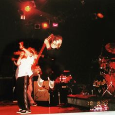 """""""Who said white men can't jump...? This is me back in 1999, with my old old band, sportin' a black painters coverall and a Hannibal Lecter mask haha.…"""""""