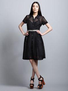 Plenty by Tracy Reese Open Weave Shirt Dress