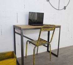 Bureau style industriel en chêne et acier