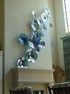 Glass Wall Art, Fused Glass Art, Mosaic Glass, Traditional Artwork, Fireplace Wall, Wall Sculptures, Glass Design, Plates On Wall, Hand Blown Glass