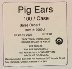 EuroCan Manufacturing Voluntarily Recalling Barnsdale Farms® Pig Ears Because of Possible Salmonella Health Risk