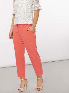 Womens Petite Coral Naples Ankle Grazer Trousers- Coral