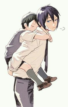 Yato, Ebise, cute, piggyback, young, childhood; Noragami