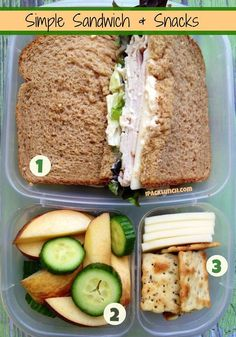 This is what my work packed lunch should look like - protein and salad sandwich for lunch then two snacks: apples and mini cucumber, and crackers and cheese. Cold Lunches, Lunch Snacks, Lunch Recipes, Healthy Snacks, Cooking Recipes, Healthy Recipes, Detox Recipes, Healthy Packed Lunches, Lunch To Go