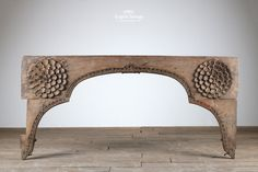 Lovely antique carved Indian teak wooden arch with large carved flowers and intricate detailing throughout. Wooden Arch, Teak, Hand Carved, Entryway Tables, Woodworking, Carving, Indian, Interior Detailing, Architecture