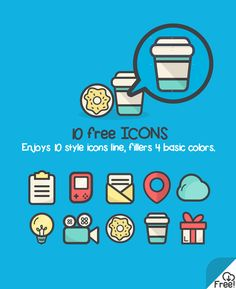 10 Free Flat Vector Icons Icons AI Flat Free Graphic Design Icon Resource Vector