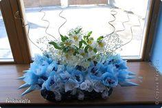 Декор предметов, Свит-дизайн: Букет на главный стол из конфет с живыми цветами Свадьба. Фото 3