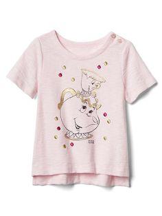 babyGap &#124 ディズニー ベイビー美女と野獣刺繍スラブTシャツ