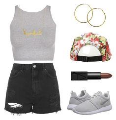 """Gangsta?"" by baludna ❤ liked on Polyvore featuring Free People, Topshop, Melissa Odabash, NIKE and NARS Cosmetics"