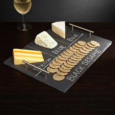Slate Cheese Board with Handles. Perfect hostess gift. Quite frankly…I think I just may buy it for myself. Great for wine and cheese party:)