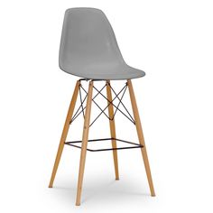 Baxton Studio Azzo Gray Plastic Mid-Century Modern Shell Stool | Overstock.com Shopping - The Best Deals on Bar Stools