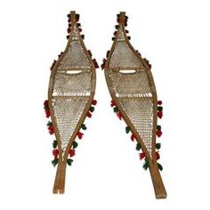 The beaver tail snowshoe was popular among the Ojibwa Indians. Beaver tail snowshoes are characterized by pointed tips, upturned toes, and two pieces of wood joined at the bow and tail. This style of