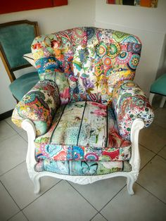 Sillón patchwork antiguo Wingback Chair, Armchair, Accent Chairs, Room, Furniture, Home Decor, Lanterns, Dining Room, Mesas