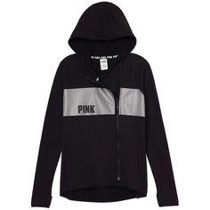 High/Low Hoodie ($60) ❤ liked on Polyvore featuring tops, hoodies, print hoodie, graphic hoodies, zippered hooded sweatshirt, hooded pullover and pink top