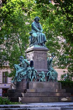 Beethoven monument on the Beethovenplatz square with lots of trees in Vienna, Austria. Austria Travel, Famous Places, Vienna, Travel Photos, Fine Art America, Garden Sculpture, Statue, Canvas, Outdoor Decor