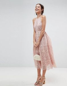 ASOS Lace Pinny Scallop Edge Midi Prom Dress