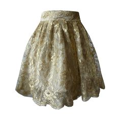Gianni Versace Couture Tiered Gold Lace Overlay Evening Skirt Spring 1992 | From a collection of rare vintage skirts at https://www.1stdibs.com/fashion/clothing/skirts/