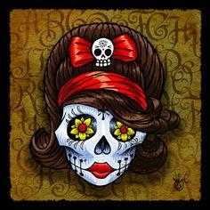 Shugar Doll Halloween 6, Dead Makeup, All Souls, Skull Jewelry, Sugar Skulls, Mexican Folk Art, Day Of The Dead, Skull Art, Dark Art