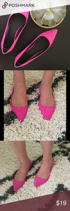 Pink Skimmers! Pointy, pink, perfect! Who doesn't love a pop of color on their toes?! From black jeans and skirts to floral wrap dresses and denim minis, these pink shoes are so much fun and never expected  ASOS Shoes Flats & Loafers