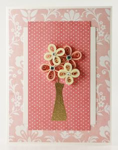 Pink Quilled Flowers in Vase Card Any Occasion by loveinenvelope, $8.00