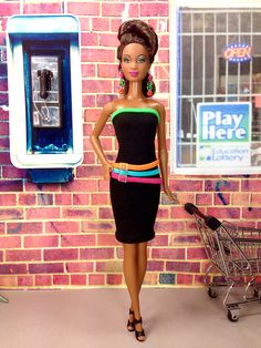 Barbie Doll Dress - Black Dress with Colorful Hoop Loop Bands, Earrings, and Shoes by EnchantedStyles on Etsy