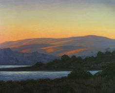 "Tomales Bay Aglow, 20"" x 24"", Tomales Bay, Marin County, California, Northern California Landscape Painting, Marin County Landscape Painting, original oil painting, Marin woods, California golden hills, rolling hills, golden hillside, golden country, California coastal painting, California coast, bay view, bay sunset, evening light, golden light, dreamy light, sunset light, juicy sunset, peaceful, fine art, Terry Sauve, terrysauve.com"