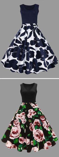 510ce5bda51 Up to 80% OFF for Plus Size Floral Printed Midi Vintage Flare Dress -  Purplish