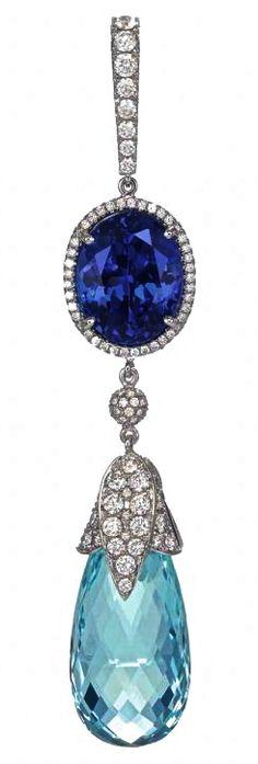 Aquamarine & Sapphire Ear Pendant by Chopard