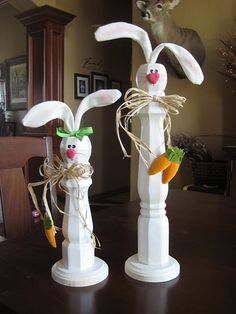 Easter Bunny's made from posts. So cute! Gotta make me some of these.