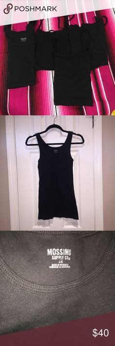 """Bundle of 4 black Target Tank Tops Bundle of 4 tank tops, 3 camisoles sized large , brand Merona these have the """"slinky"""" feel to them. And One size large , brand Mossimo  tank top . All of these are great condition!  **shop my closet and bundle to save more!! ** Mossimo Supply Co. Tops Tank Tops"""