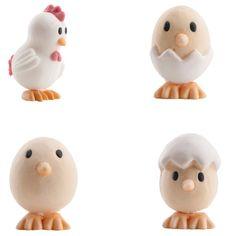 4 figurines pâques en sucre 3d - Annikids