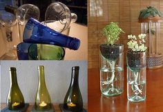 How to Easily Cut Glass Bottles - What to do with glass bottles? Yes, that\'s the way to go, unless you want to use them to make something cool. Drinking glasses, vases, lamps those are only a few things you can make from bottles. Cutting Glass Bottles, Recycled Glass Bottles, Bottle Cutting, Glass Bottle Crafts, Cut Bottles, Hang Plants From Ceiling, Cut Glass, Glass Art, Glass Planter