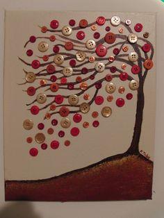Une peinture complétée par des boutons de chemise ou de manteau, pour un effet vivant.