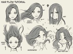 Hair flow drawing techniques, drawing tips, drawing reference, water drawing, drawing expressions Drawing Poses, Drawing Tips, Drawing Reference, Drawing Sketches, Art Drawings, Drawing Ideas, Drawing Drawing, Girl Hair Drawing, Anime Hair Drawing