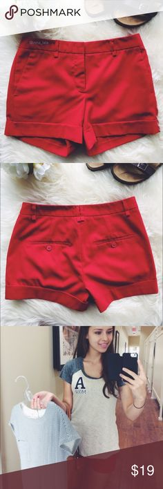 "Forever 21 Red Shorts -Hot bright red shorts. Pairs well with a crisp white button-down for a classy look. -Contoured waistband. Front with hook and button closure. Belt loops. Decorative back pockets. 4"" inseam. -65% Polyester, 31% Rayon, 4% Spandex. Machine Wash. -Fits sizes 00-0. -Gently worn. : inna_lala ✌️This top is also for sale in my closet! Forever 21 Shorts"