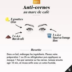 * DIY: Coffee grounds concealer Great Awesome In addition to being . Health And Beauty Tips, Beauty Make Up, Beauty Care, Diy Beauty, Beauty Skin, Beauty Room, Health Tips, Face Beauty, Beauty Ideas