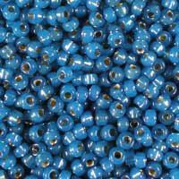 Miyuki 11/0 (2mm) Dyed Denim Blue Silver-Lined Alabaster glass seed beads, colour number 648. UK seller.