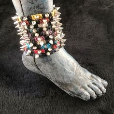 HOTI Hemp Handmade Heavy Metal Stud Spike Bead Anklet Black Red Navy Blue Purple Turquoise Bright Green White Yellow Pink Natural Hemp Studs Cone Spikes Beads Women's Ladies Knotted Lobster Claw Clasp Ankle Bracelet Collection Hand Crafted Made in Toronto Made in Ontario Made in Canada Tattoo Punk Rocker Halloween Beaded Toronto Ontario Canada