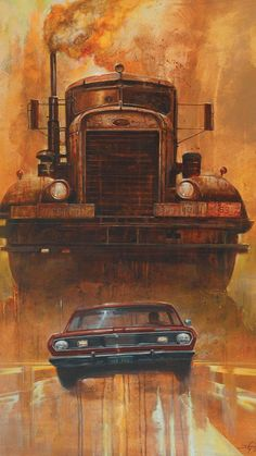 Duel by Didier Graffet (Illustration for the story by Richard Matheson) Horror Posters, Car Posters, Pinstriping, Horror Art, Horror Movies, Film Cars, Movie Cars, Film Images, Peterbilt Trucks