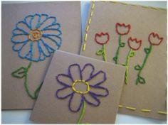 Paper Dali: Easily Embroidered Spring Cards / Tarjetas Bordadas
