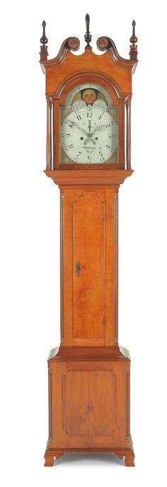 Pennsylvania cherry and maple tall case clock, ca. Old Clocks, Antique Clocks, Primitive Furniture, Antique Furniture, Antique Grandfather Clock, Clock Shop, Repurposed Items, Raised Panel, Furniture Styles