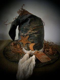Primitive Halloween Black Witch Hat Shelf by swampwaterprimitives