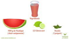 jus pastèque basilic  Ingrédients pour 1 portion  400 g de pastèque (chair) 1/2 citron vert 1 poignée de basilic Préparation  Épépinez la chair de pastèque et coupez la en frites grossières Épluchez et épépinez le citron vert Passez tous les ingrédients dans votre extracteur de jus Votre jus vert est prêt