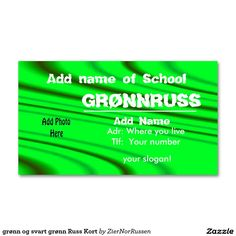 grønn og svart grønn Russ Kort Double-Sided Standard Business Cards (Pack Of 100)
