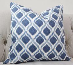Blue Ikat Pillow  Blue White Pillow  Medium Blue by MotifPillows, $40.00