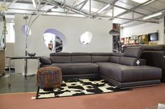 Living : VIVALDI Corner Sofa In Aubergine Purple Leather