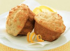 Light and Lemony Muffins 12 serving(s) Ingredients 1 ml) cups milk cup ml) plain yogurt Grated rind of 2 large lemons 2 tbsp Citrus Recipes, Great Recipes, Muffin Recipes, Breakfast Recipes, My Favorite Food, Favorite Recipes, Lemon Muffins, Baking Flour, Baking Soda