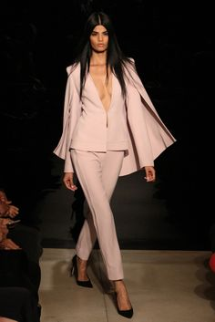 Pretty in (powder) pink at Brandon Maxwell's debut runway show! Hair lead by James Pecis using amika.