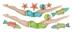 Retro Diver Girl Wall Decals ... perfect for color over shower stalls
