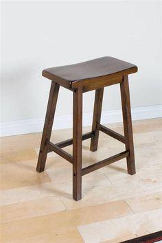 2 Gaucho Walnut Wooden Seat Bar Stools W/Foot Rest